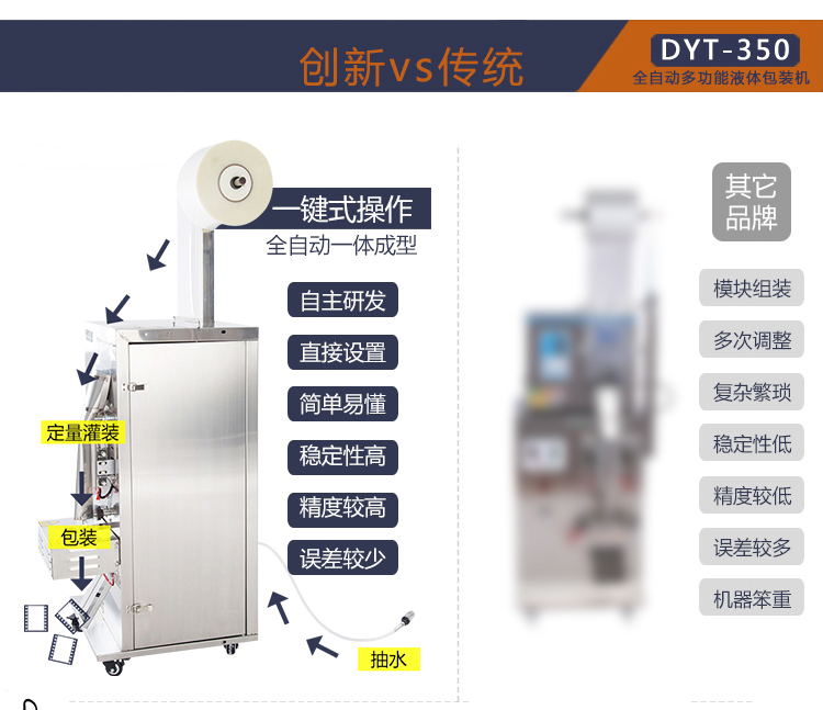 全自动电子计量定量液体包装机封口机  调料水酱油醋料灌装机 产品对比1