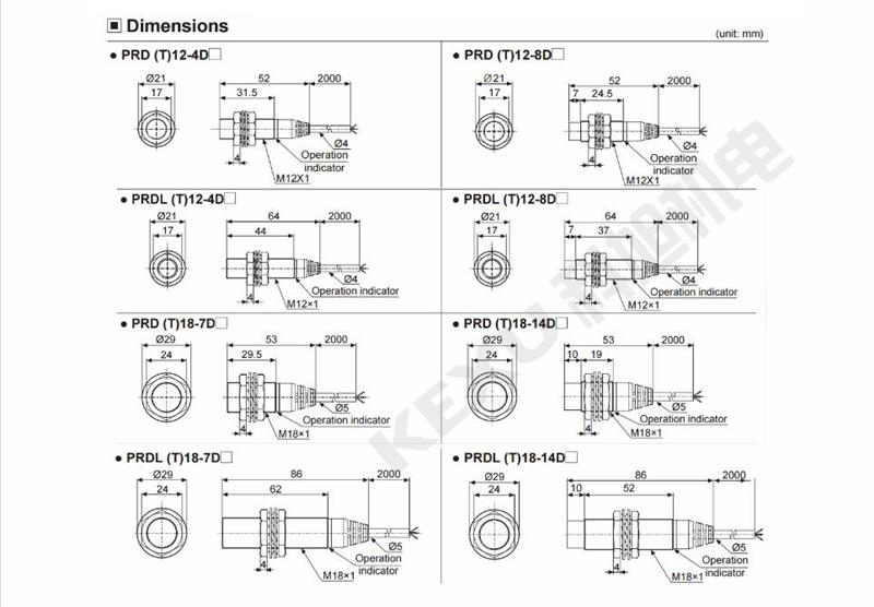 奥托尼克斯接近开关PRL12-4DN/DP2电感式接近传感器 原装正品 产品尺寸
