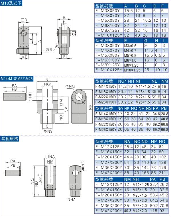 气缸Y型接头规格参数图
