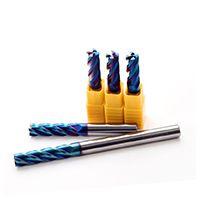 65度高速超微粒合金钨钢铣刀 高性能蓝色纳米涂层 硬质合金铣刀4刃