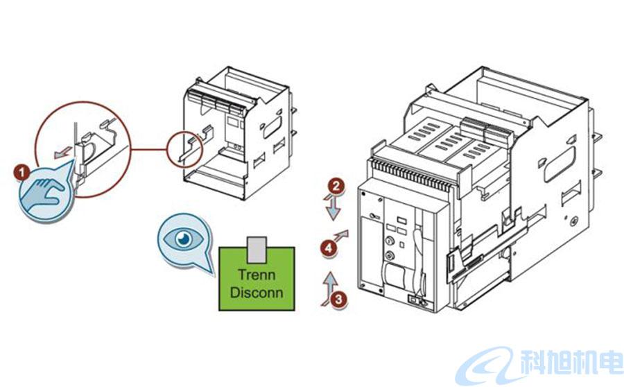 西门子断路器3WT在导向框架中插入