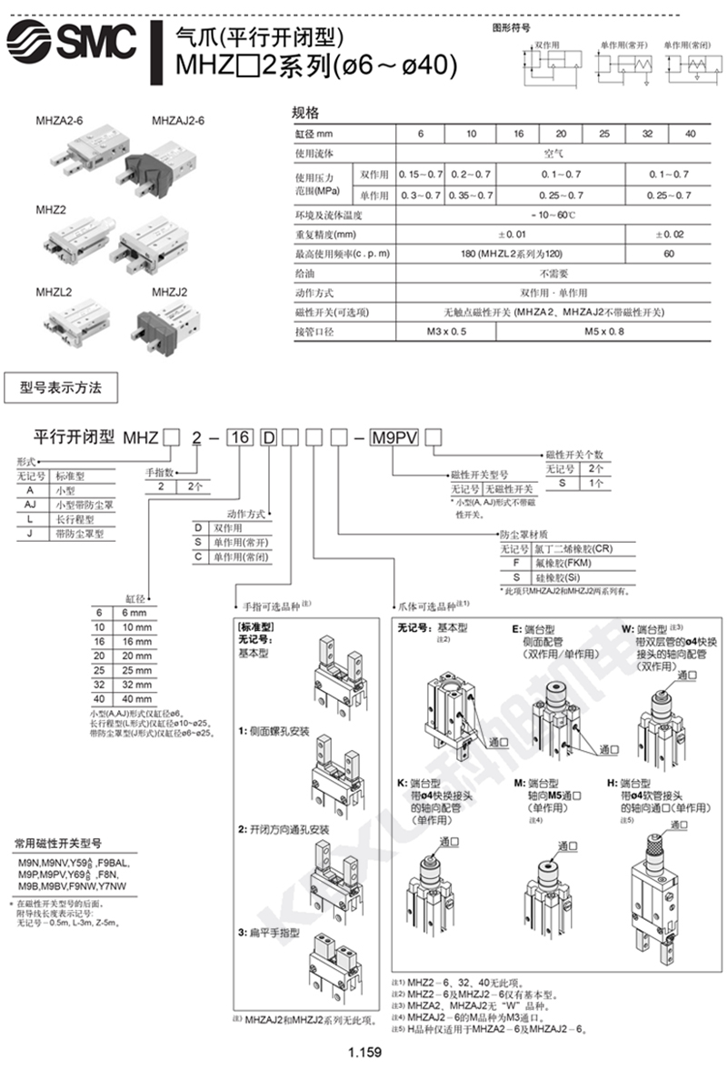SMC手指气缸MHZ2-10S平行机械手气爪 原装正品 产品选型