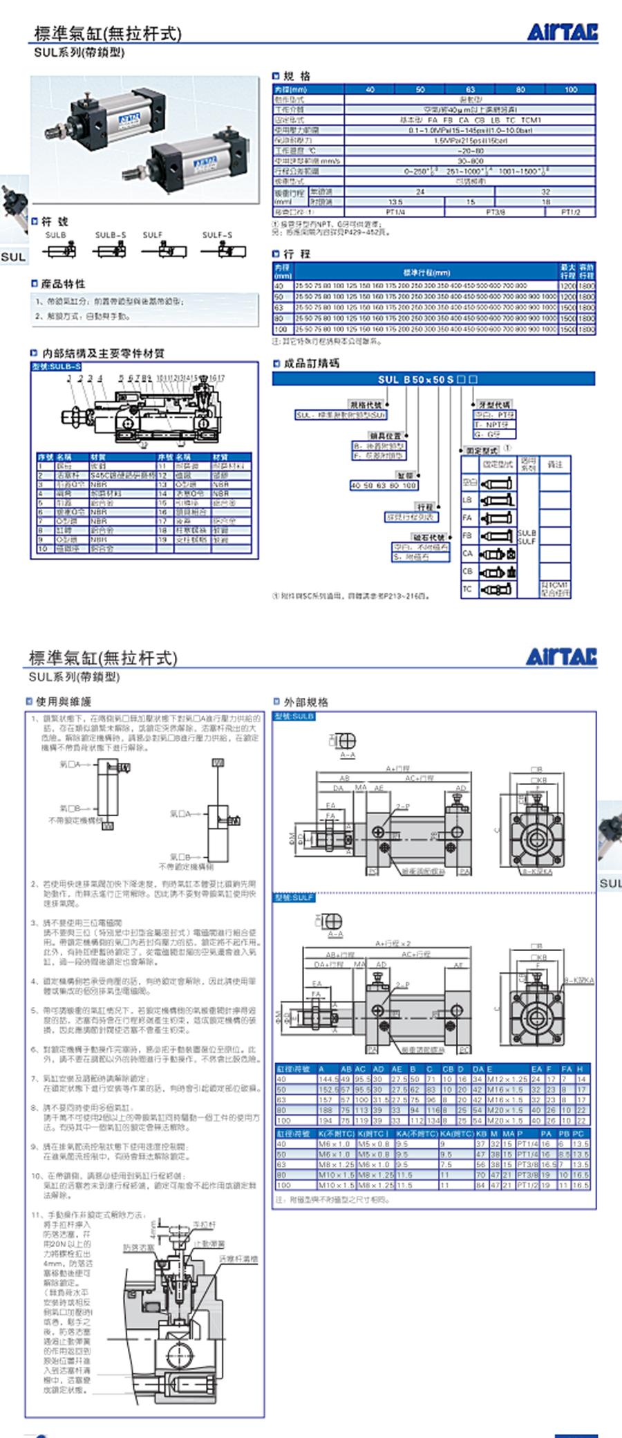 亚德客标准气缸无拉杆式SULF100X160S 参数说明