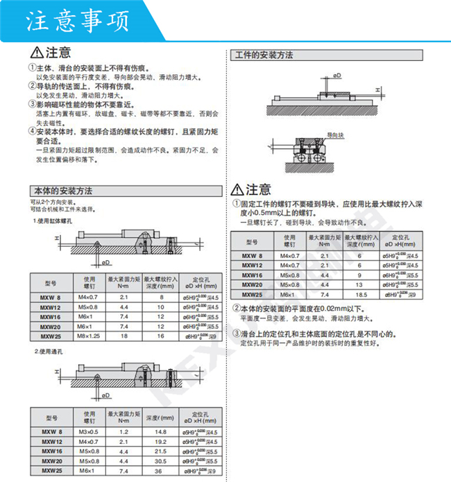 SMC气动滑台MXW12-125动作平稳 长行程滑台气缸 原装正品 产品注意事项