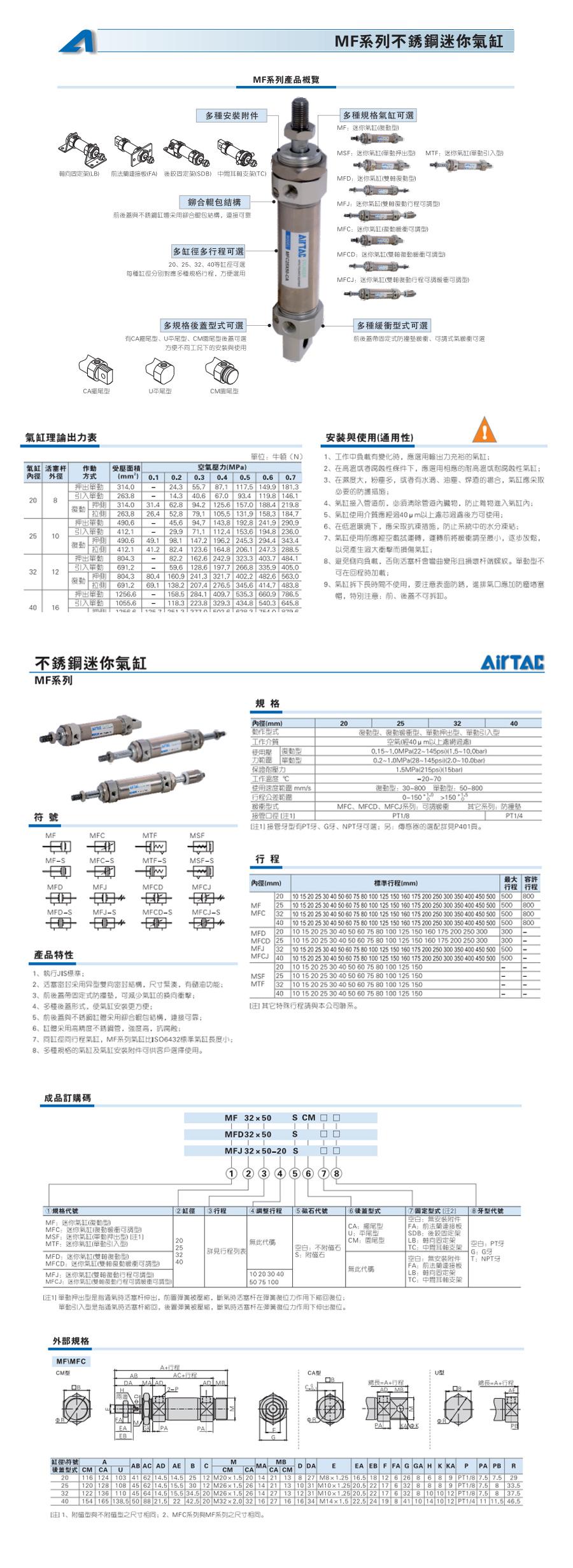 亚德客MFJ迷你气缸MFJ20X100T参数说明