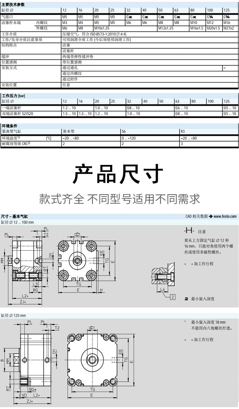 费斯托FESTO气缸ADVU-50-80-A-P-A产品尺寸