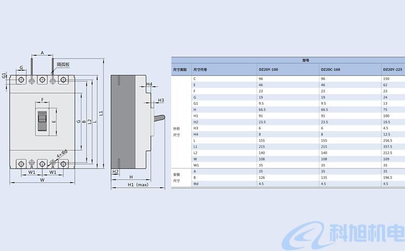DZ20断路器型号参数和结构附件五