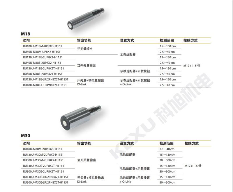 图尔克超声波传感器RU300U-M30E-LIU2PN8X2T-H1151原装正品 产品型号大全