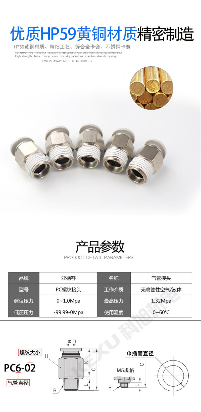 亚德客气管快速接头APC14-04内螺纹APC6/8/10/12/14/16螺纹直通 原装正品 产品材质与参数
