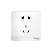 施耐德电气二三插五孔插座墙壁电源开关插座面板10A绎尚镜瓷白