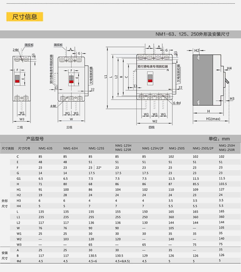 正泰塑壳断路器NM1-125S/3300 三极空气开关3P 63A 三相四线 原装正品产品尺寸