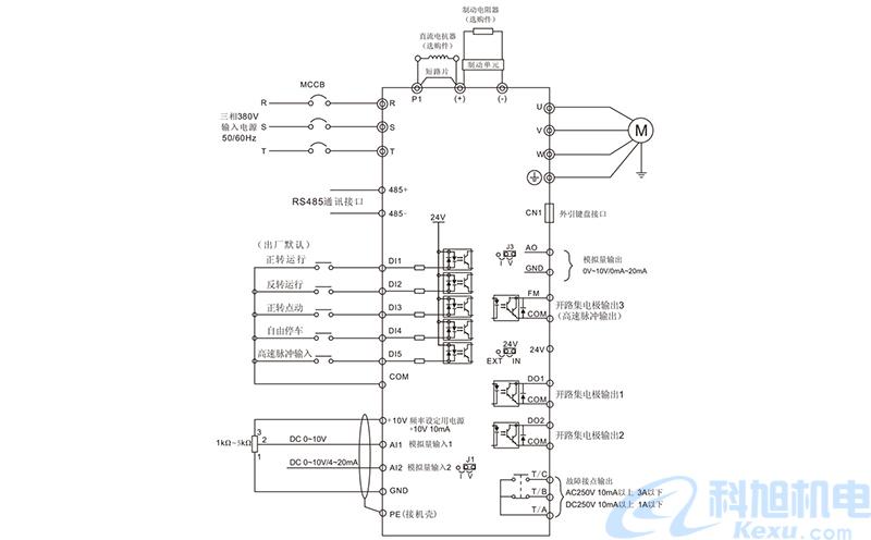 变频调速器怎么调快慢?变频调速器接线图三