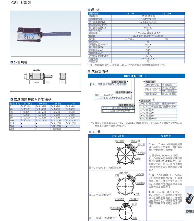 亚德客电子式感应器磁性接近开关DMSGS-N020-W参数说明