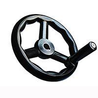 数控机床胶木三幅圆轮缘手轮把手 平面磨床三根筋波纹手轮 带转动手柄