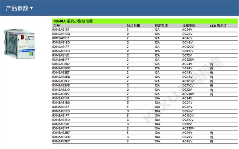 施耐德中间继电器RXM2AB2JD小型继电器 插拔式 原装正品 产品参数