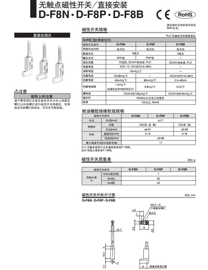 SMC气缸磁性开关感应传感器D-P4DWL参数说明