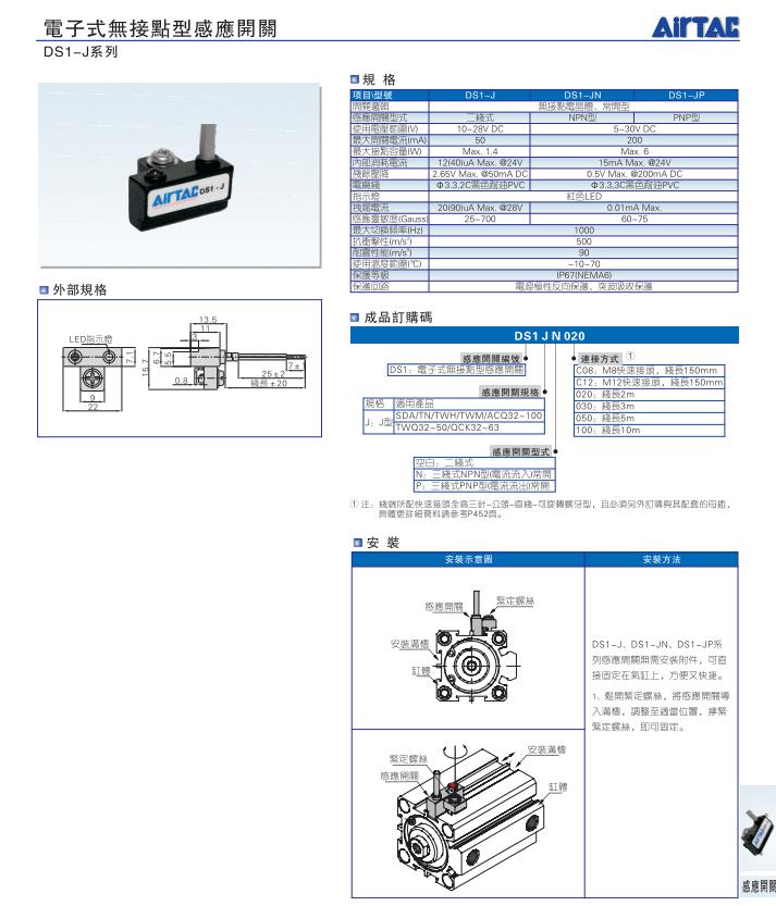 亚德客电子式感应器磁性接近开关CMSJ-020-H参数说明