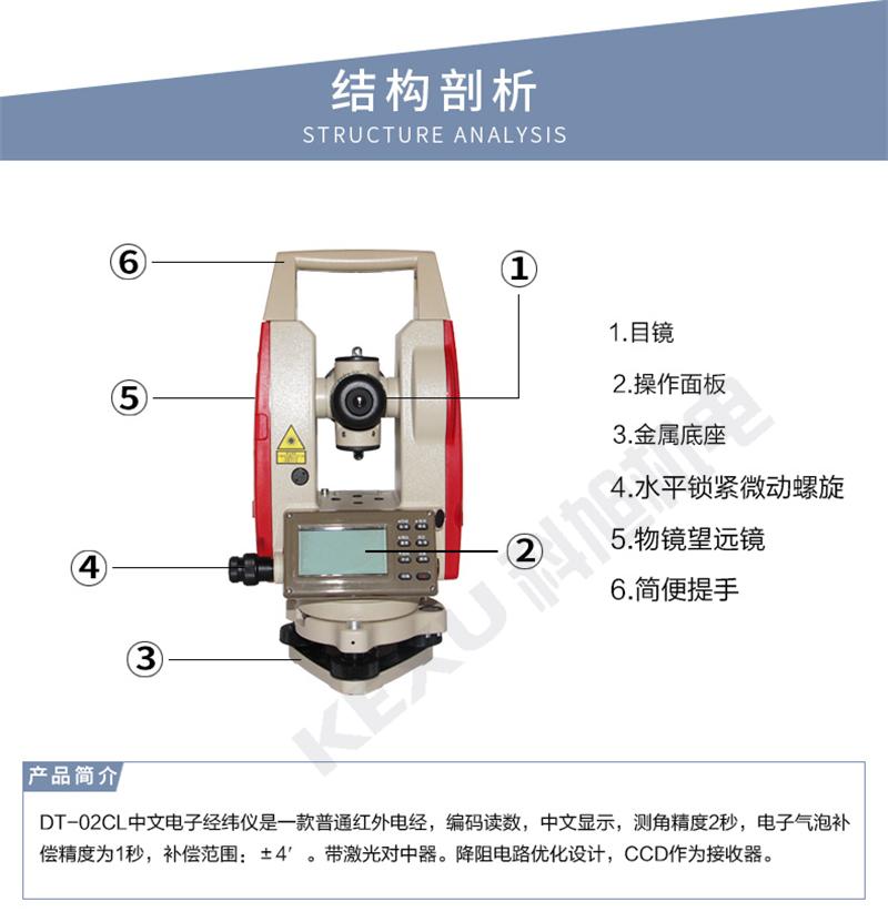 科力达经纬仪DT-020CL上下激光 超长续航电子经纬仪 产品结构