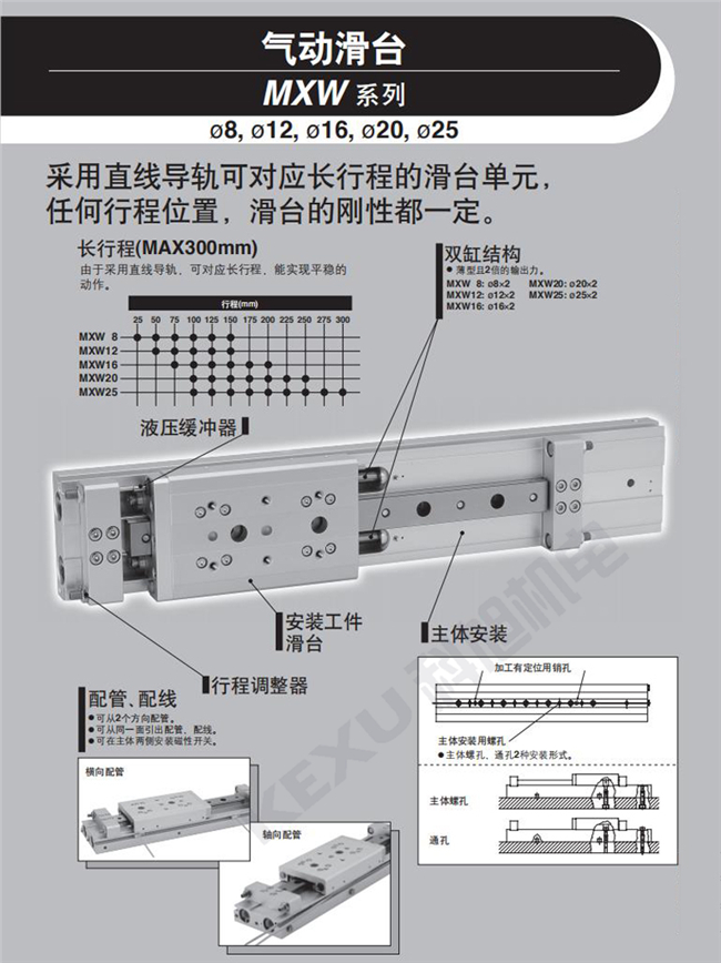 SMC气动滑台MXW16-100动作平稳 长行程滑台气缸 原装正品 产品简介