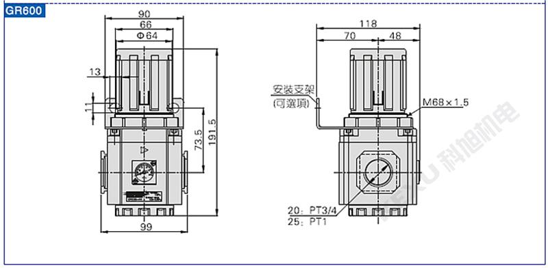 亚德客调压阀GR300-10 气压调节阀 进气减压阀 气源处理 原装正品 产品尺寸