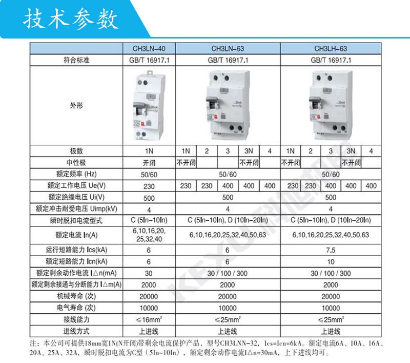 常熟开关漏电断路器CH3LN-63C63A/3N/030E带剩余电流保护 原装正品 产品参数
