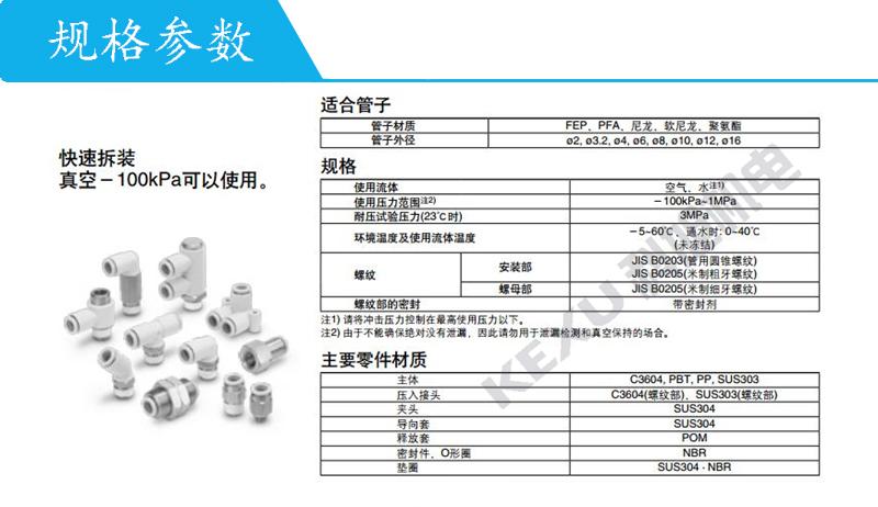 SMC气动快插接头KQ2F16-04N方便快捷 种类齐全 原装正品 产品规格参数