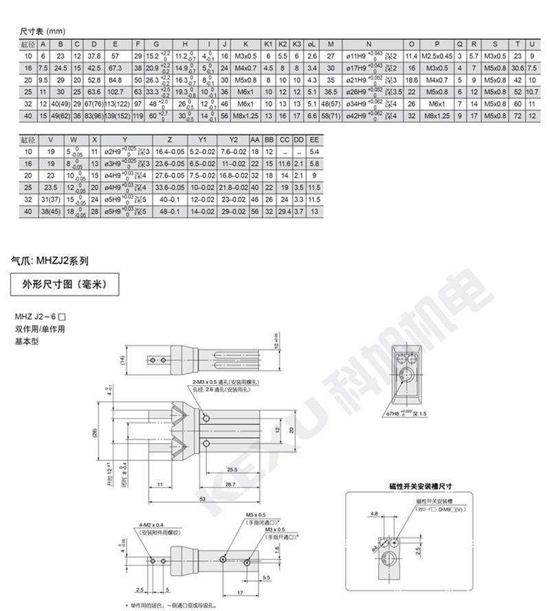 SMC手指气缸MHZ2-16S平行机械手气爪 原装正品 产品尺寸2