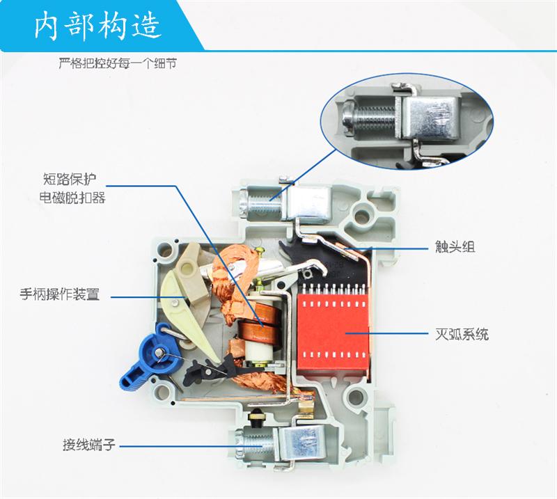 上海人民漏电断路器RMC1L-63C20A/4P剩余电流保护 原装正品 产品内部结构