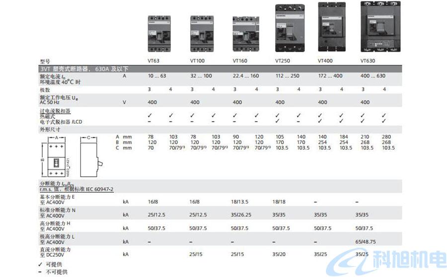 西门子塑壳断路器3VT8型号结构及参数应用二