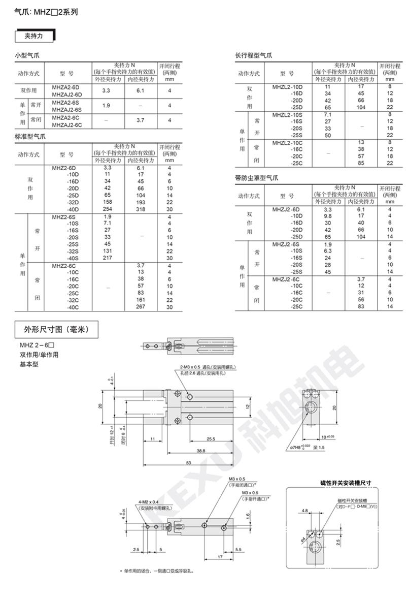 SMC手指气缸MHZ2-10S平行机械手气爪 原装正品 产品参数
