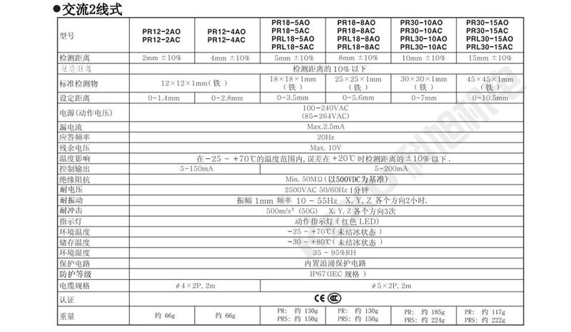 奥托尼克斯接近开关PRL12-4DN/DP2电感式接近传感器 原装正品 产品规格3