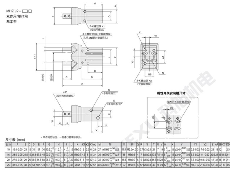 SMC手指气缸MHZ2-25SN平行机械手气爪 原装正品 产品尺寸3